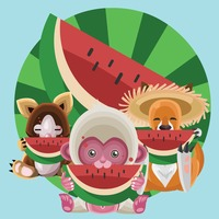 Animals eating watermelon