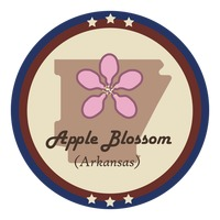 Arkansas state with apple blossom flower