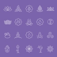 Assorted yoga symbol set