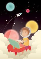 Popular : Boy imagining himself in outer space