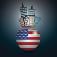 Popular : Buildings on a rounded usa flag
