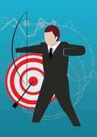 Businessman with bow and arrow concept