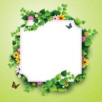 Popular : Card with leaves and flowers