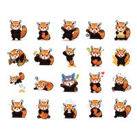 Cartoon red panda expression pack