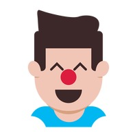 Cheerful boy with a clown nose
