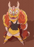 Chinese new year lion dance greeting design