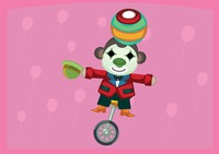 Circus monkey with clown face paint balancing a ball on a unicycle