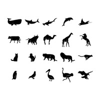 Collection of animal and bird silhouettes