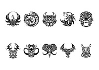 Collection of animal tattoo design