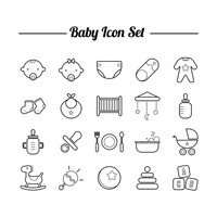 Collection of baby icon set