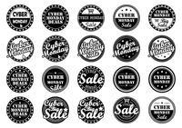 Popular : Collection of cyber monday sale labels