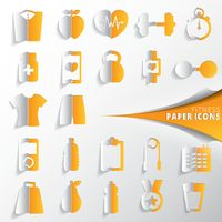 Collection of fitness paper icons