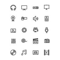 Collection of multimedia icons