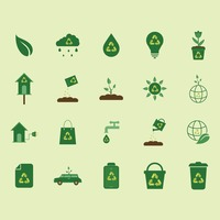 Collection of nature icons with recycle symbol