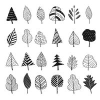 Collection of simple trees and leaves design