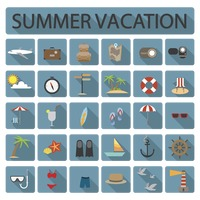 Collection of summer vacation icons