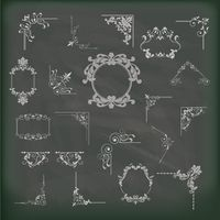Collection of vintage frames on a blackboard