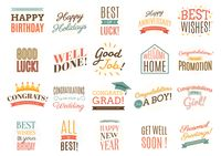Collection of well wishing labels