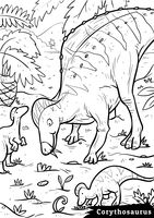 Corythosaurus with hatchlings
