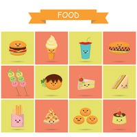 Cute food icons