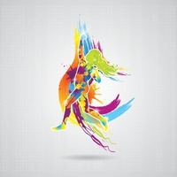 Dancing girl with colorful splash