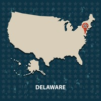 Delaware state on the map of usa