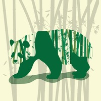 Double exposure of panda and bamboo trees