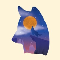Double exposure of wolf and night sky