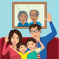 Family with photo frame