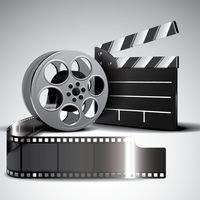 Film reel and clapperboard