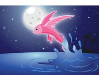 Fish over a moonlit background