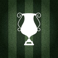 Football trophy cup on striped background