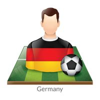 Germany player with soccer ball on field