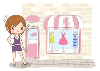 Girl shopping for new dress