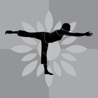 Girl Silhouette Practising Yoga In Warrior Iii Pose