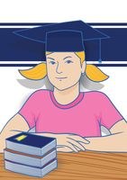 Girl wearing mortarboard with books