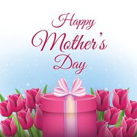 Happy mothers day card with tulips and gift box
