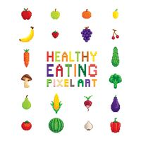 Healthy eating pixel art collection