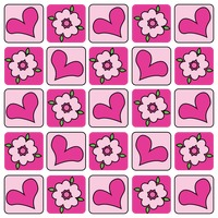 Hearts and flowers tiled pattern