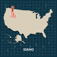 Idaho state on the map of usa
