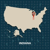 Indiana state on the map of usa
