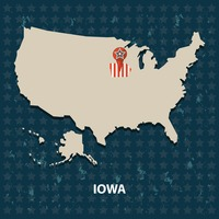 Iowa state on the map of usa