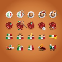 Italian food and beverage icon set