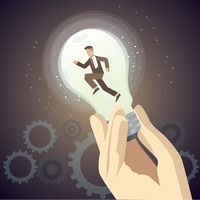 Lightbulb concept of businessman running with his ideas