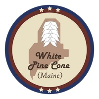 Maine state with white pine cone flower
