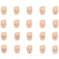 Man with various expressions collection