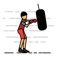 Man working out with a heavy punching bag