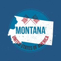 Map of montana state label