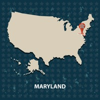 Maryland state on the map of usa