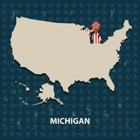 Michigan state on the map of usa